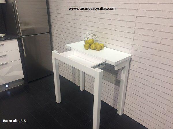 Mesa alta de cocina extensible o barra de desayu mesa for Mesas para cocinas estrechas