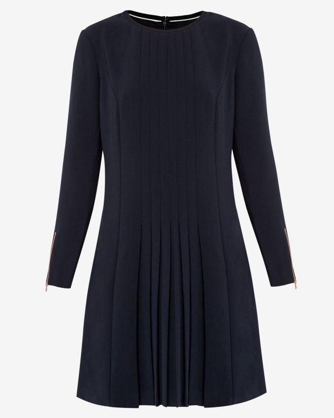 0add1c1dd1e1 Pleat detail dress - Navy