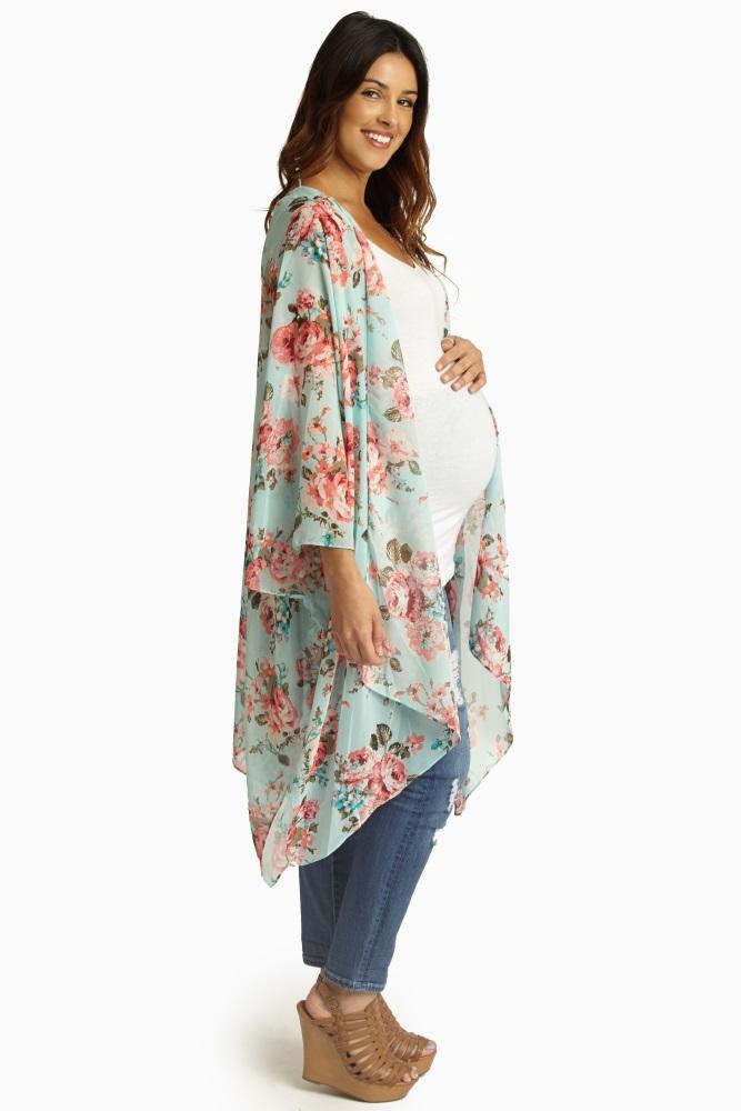 Aqua Pink Floral Sheer Maternity Maxi Cardigan | Maxi cardigan ...