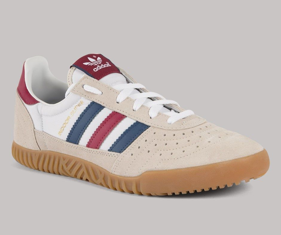 Indoor Supers were originally released by adidas in the 70 s as  squash badminton trainers - these new releases are in clear brown with  indigo and red trim 2a4ad941e