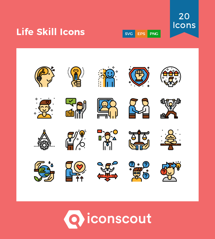 Life Skill Icons Icon Pack 20 Colored Outline Icons Life Skills Icon Pack Skills