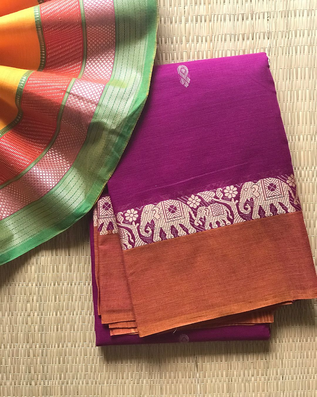 ee21773ee2 Chettinad Cotton//Beautiful shade of Purple with Elephant 🐘 Ramping  Detailed Border ! Clubbed with One meter Mangalgiri Cotton Blouse…