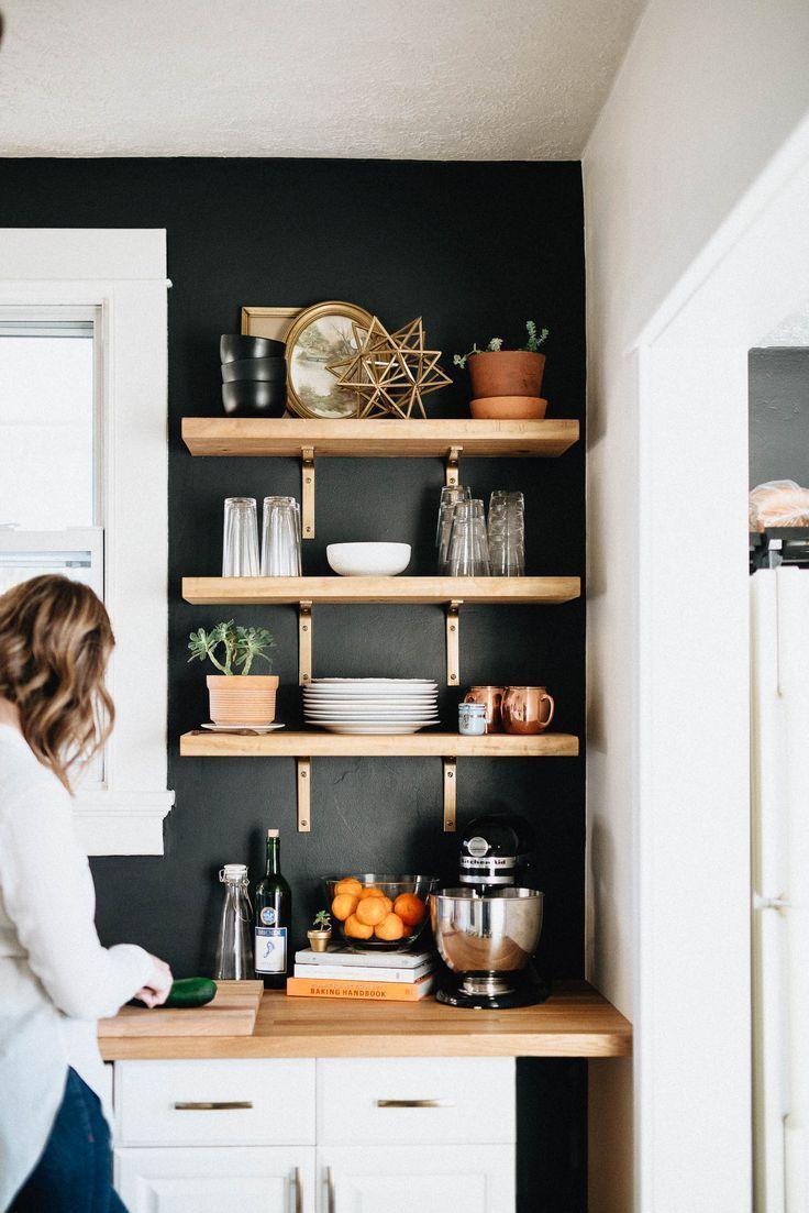 Our DIY Kitchen Remodel | Open shelves, Butcher blocks and Shelves