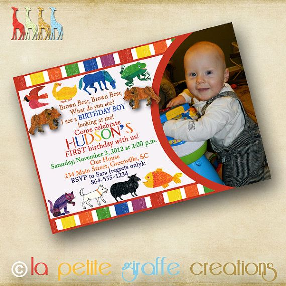 Eric Carle Brown Bear Brown Bear What Do You See Invitation Photo Birthday Invitations 2nd Birthday Parties Bear Birthday Party