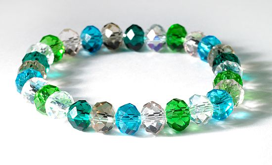 Swarovski Beaded Bracelets | Multicolor Swarovski Beaded Stretch Bracelets