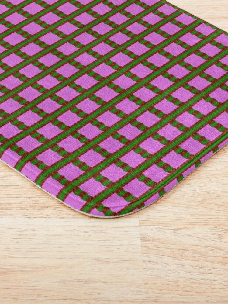 A Crimson Red and Emerald Green Gingham Design on Orchid Purple Background Bath Mat. #redbubble #homedecor #bathmat #homeandliving #bedroomdesign #findyourthing #printondemand  #giftideas