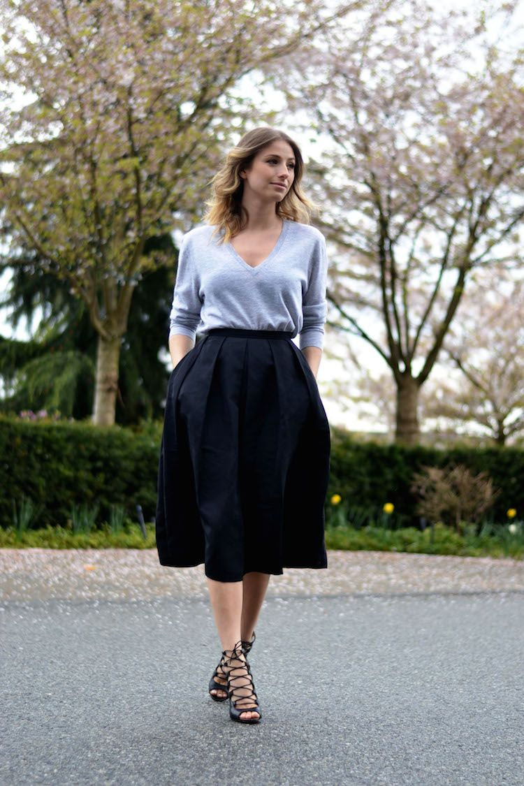 full midi skirt, 424 fifth, black, grey cashmere sweater, lace up ...