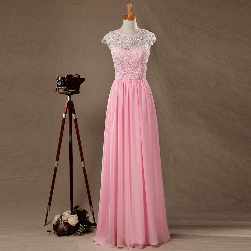 Pink sheer chiffon lace long brides pink bridesmaid dresses uk