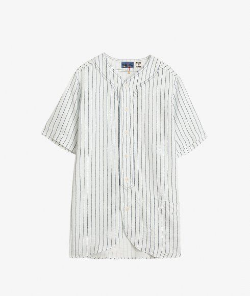 842bc6ae2e5 Short-sleeve baseball inspired shirt by Blue Blue Japan in a vertical  striped linen twill. Features a rounded hem and large patch pocket.