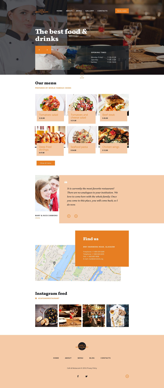 Cafe and Restaurant Responsive Website Template | Pinterest