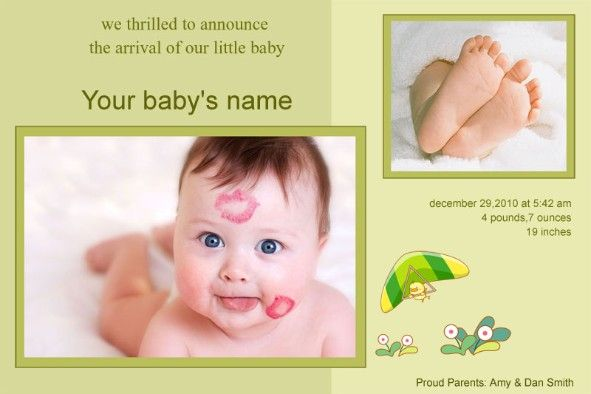 Baby Birth Announcement photo templates Baby Birth Announcement 2 - announcement template free