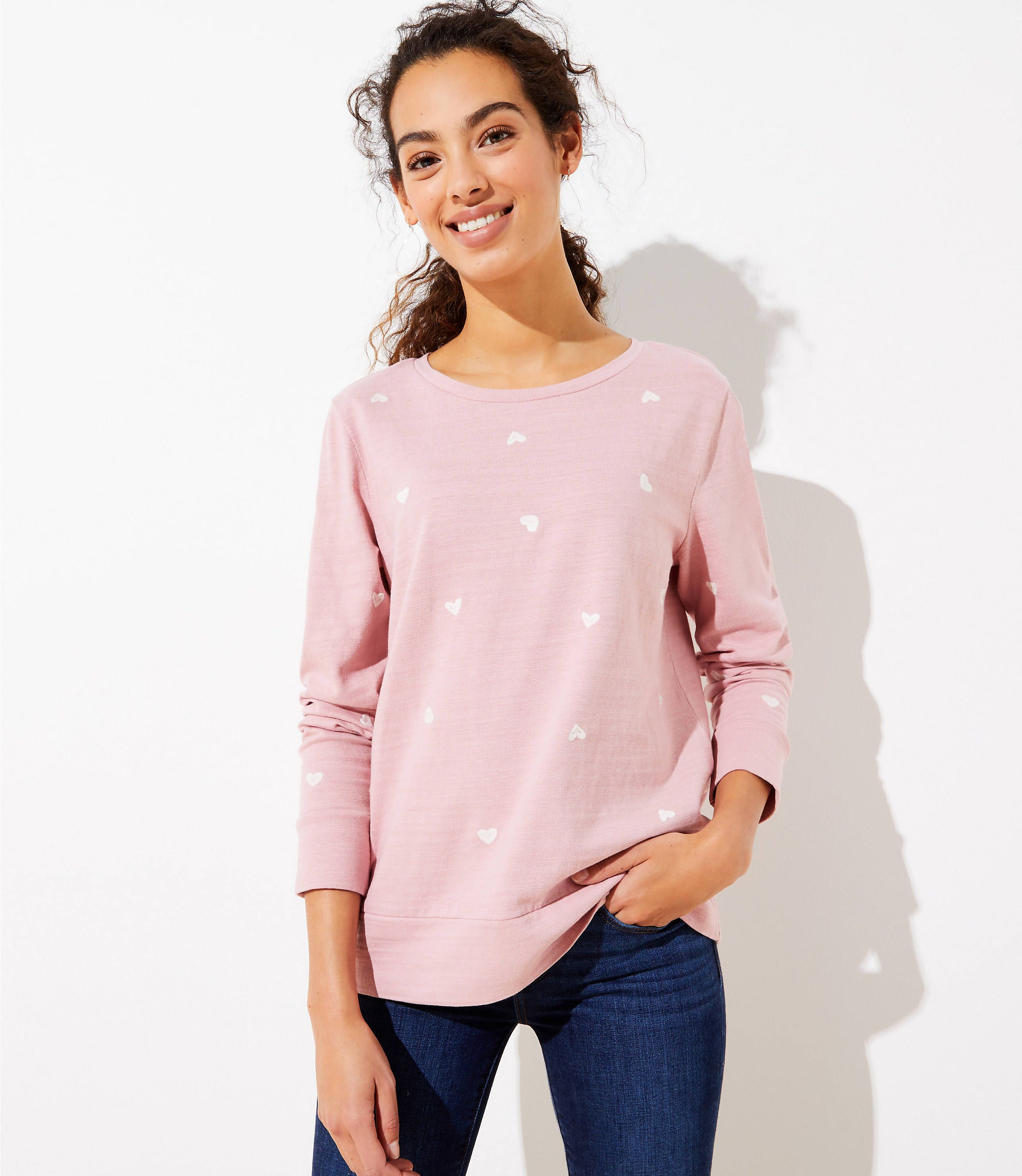 Heart Embroidered Sweatshirt LOFT in 2020 Embroidered
