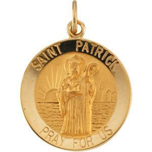 14kt Yellow Gold 18mm Round St. Patrick Medal | 2.43 Grams | Jewelry Series: R16325