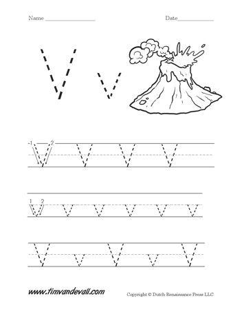 Letter V Handwriting Worksheet | DAYCARE | Kids learning ...