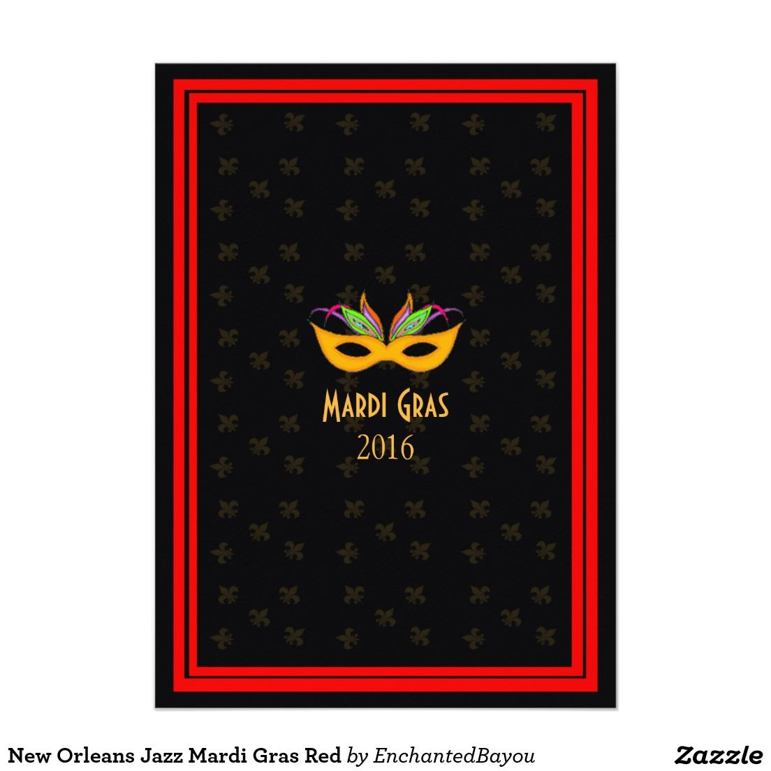 Modern Mardi Gras Party Invites Illustration - Invitations and ...