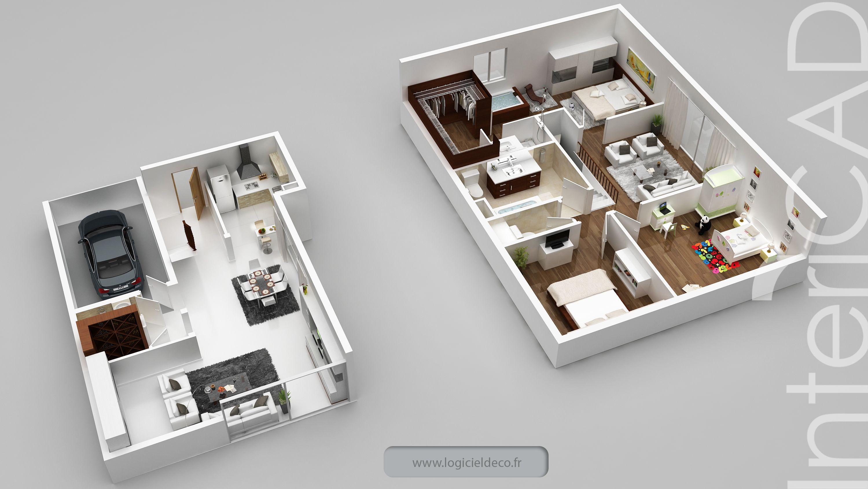 Architecte Interieur 3D Gratuit plan 3d photo réalisé avec intericad. logiciel 3d: www