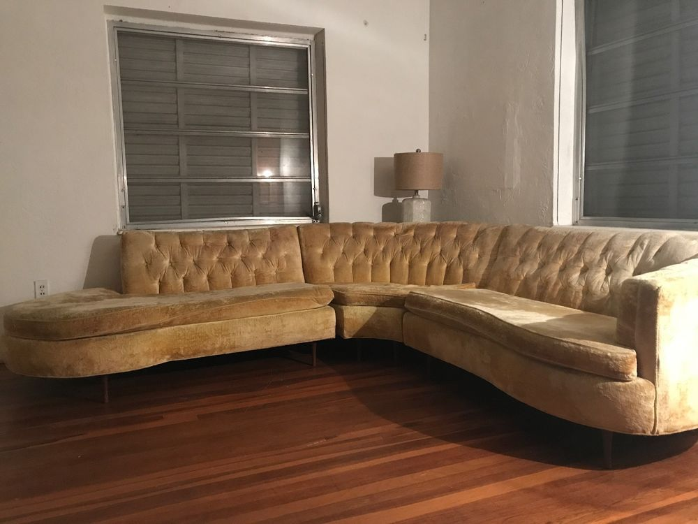 Mid Century Modern 3 Pc Vintage Sectional Sofa Couch