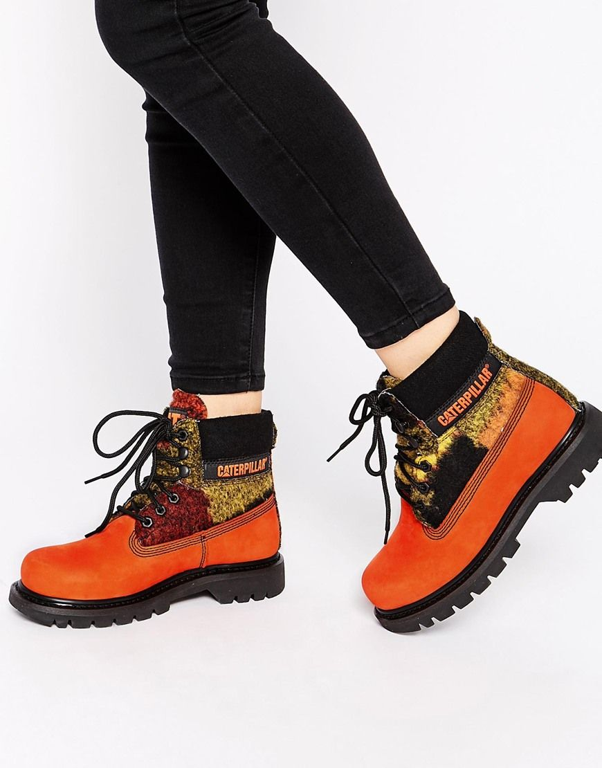 Buy Women Shoes / Cat Footwear Colorado Orange Wool Mix Leather Ankle Boots