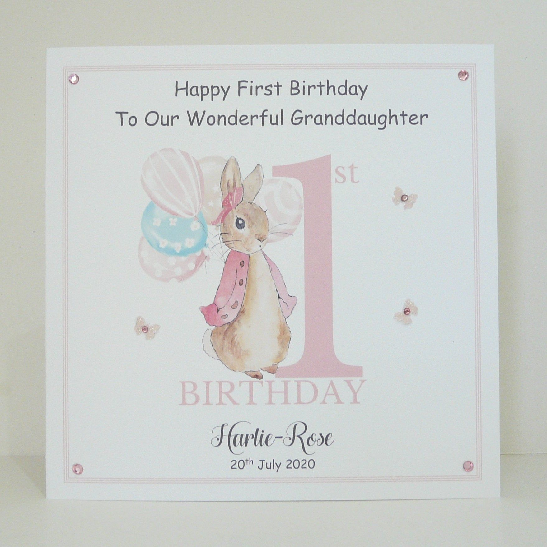 1st Birthday Card 8x8 Inches Peter Or Flopsy Rabbit Large Etsy 1st Birthday Cards First Birthday Cards Birthday Cards