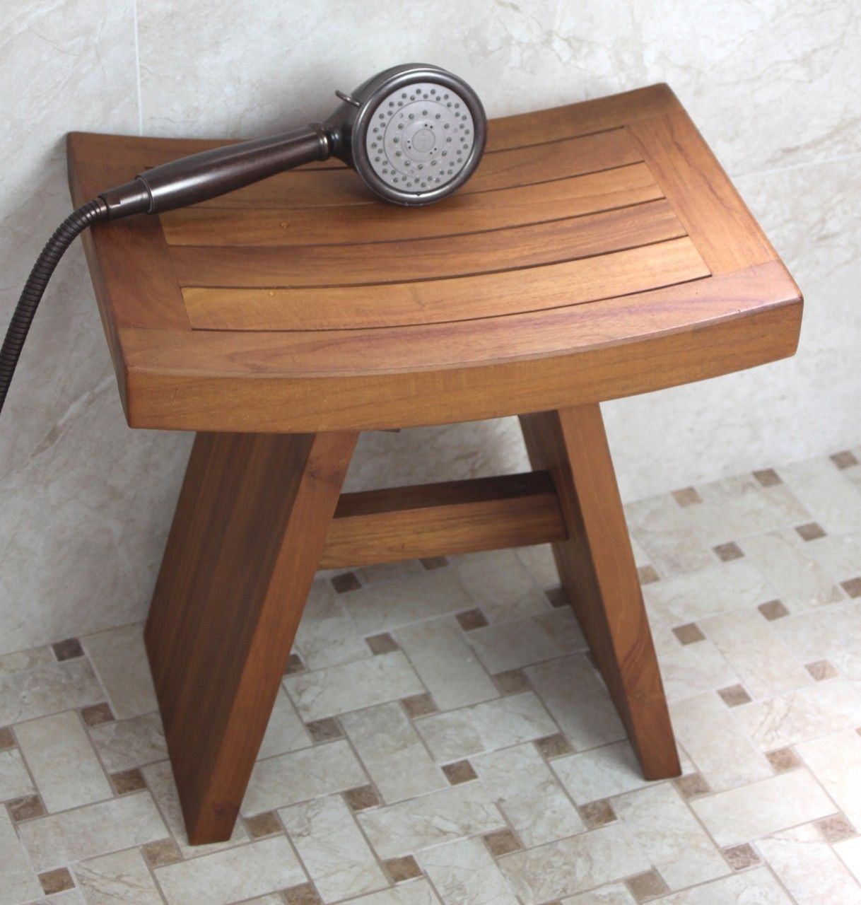 pictures of teak corner shower seats - Google Search