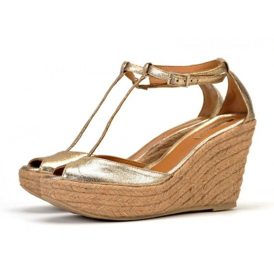 T-bar Wedge Sandals in Gold