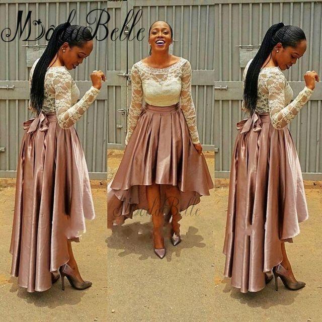 Long Sleeve Wedding Party Dresses 2017 Robe De Demoiselle D'honneur High Low Bridesmaid Dresses Lace Dress For Bridesmaid Gowns