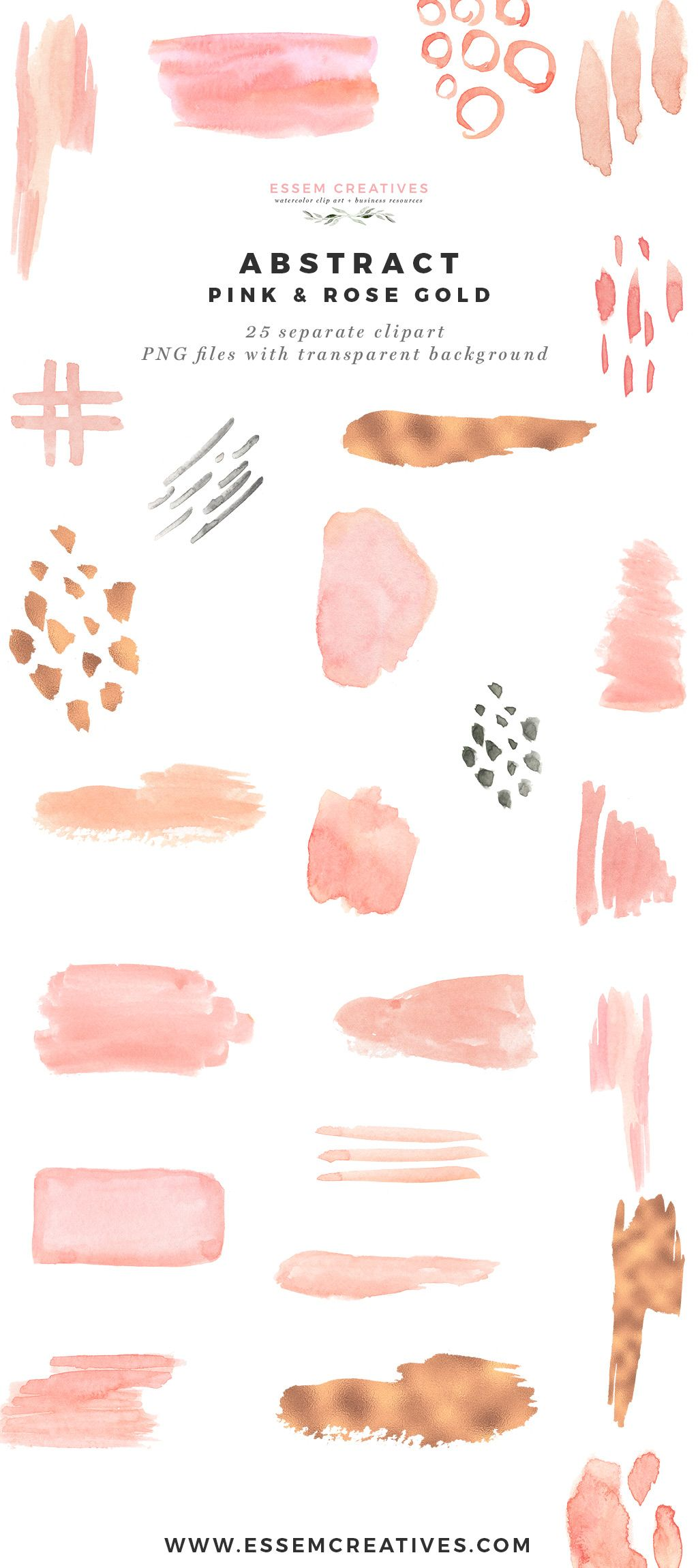 Modern Abstract Pink And Rose Gold Watercolor Design Essem