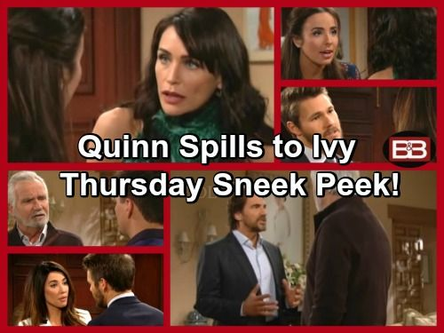 The Bold And The Beautiful Spoilers Ivy Hears Quinn Lust For Ridge
