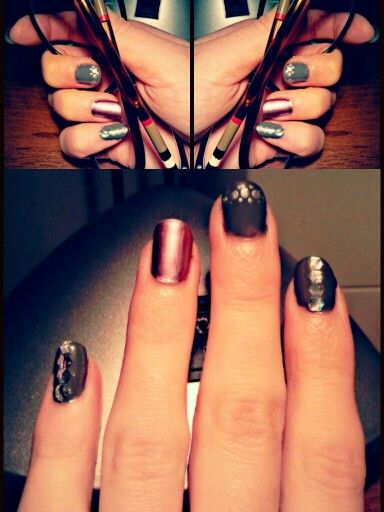 Soft glamour nailart, lilla and grey with a bit sparkle