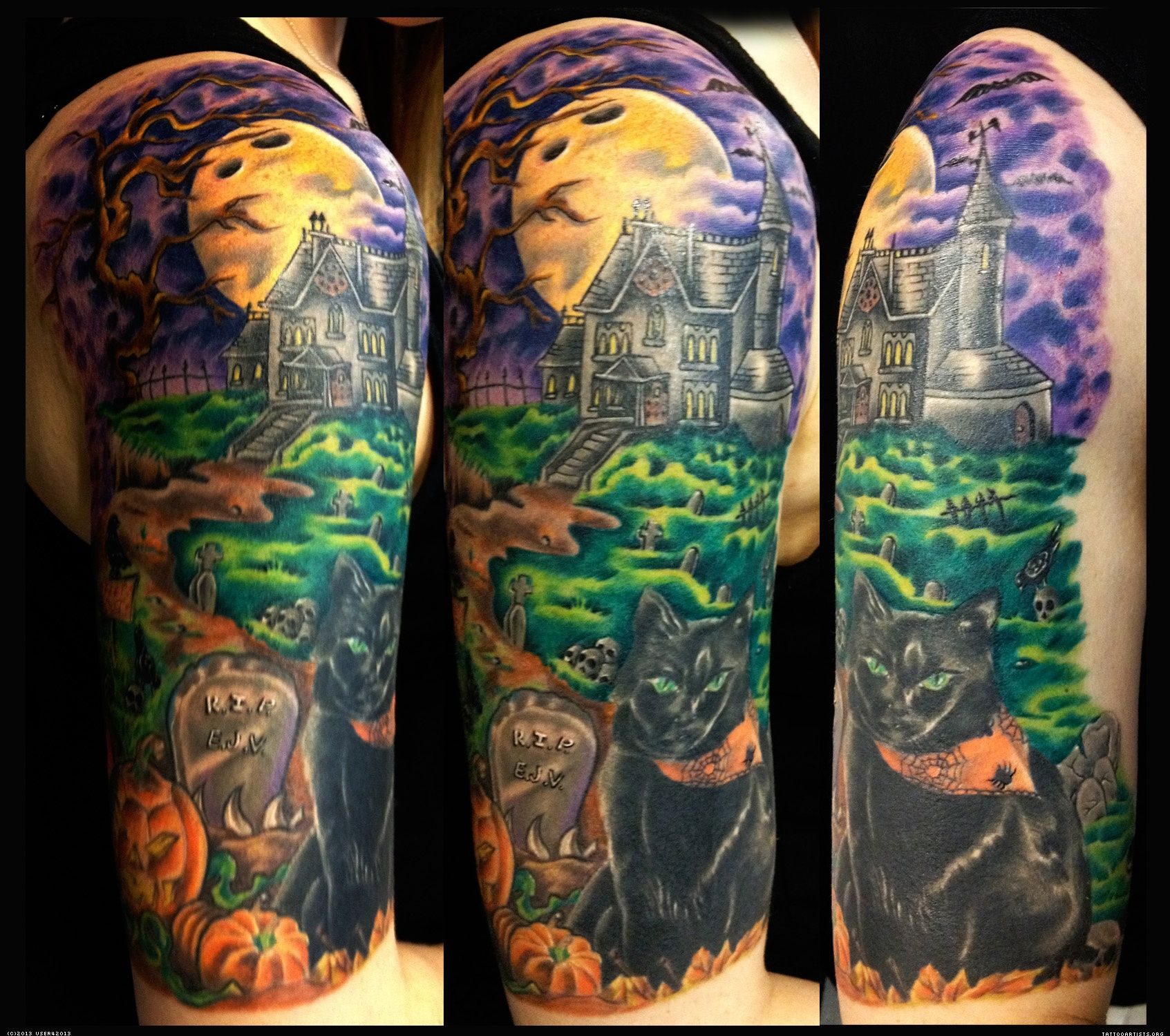 Cemetery and graveyard tattoo on half sleeve - Half Sleeve Arm Tattoos For Girls 16 Pictures Photos Images