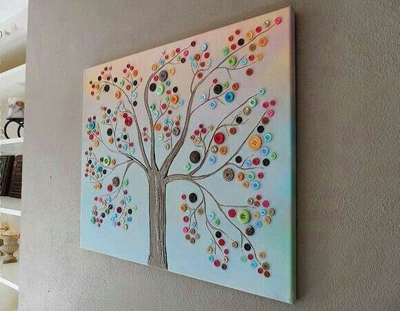 Knopf-baum | Familienbasteln | Pinterest | Kunst, Wandkunst Und ... Glitzerbaum Selber Machen