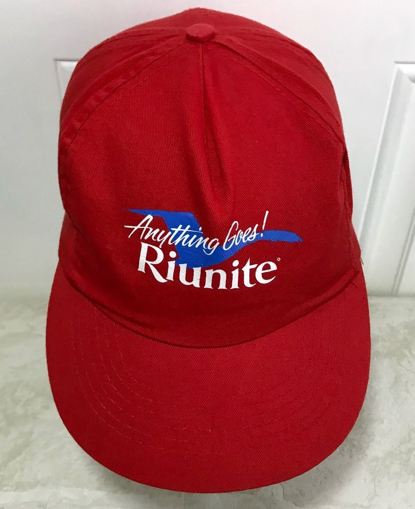 Vintage Riunite Promo Hat Anything Goes Snapback Cap Wine Italy Lambrusco  Advertising  Marvel  riunite  advertising  marketing  lambrusco  italy fc335ba62685