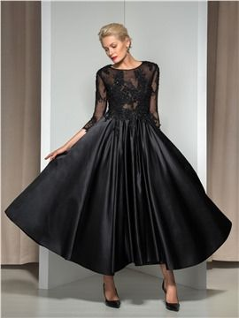 9a07e9678fd2c9 Ericdress 3/4 Long Sleeve Appliques Asymmetrical Length Evening Dress