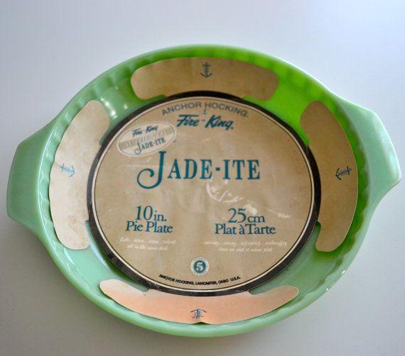 Anchor Hocking Fire King Jadeite 10 inch Pie by NikisKnickKnacks $30.00 & Anchor Hocking Fire King Jadeite 10 inch Pie Plate   Pie plate ...