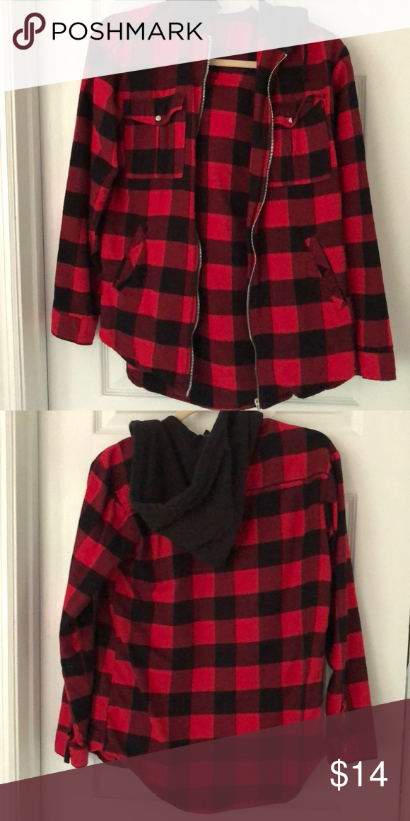 d5ca5080493 Red black buffalo plaid flannel zip jacket shirt Great condition only worn  a couple times. H&M size 2 small. Nursing friendly too if you just wear an  ...