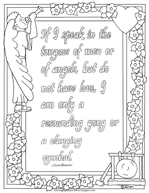 Coloring Pages for Kids by Mr Adron Printable 1 Corinthians 131