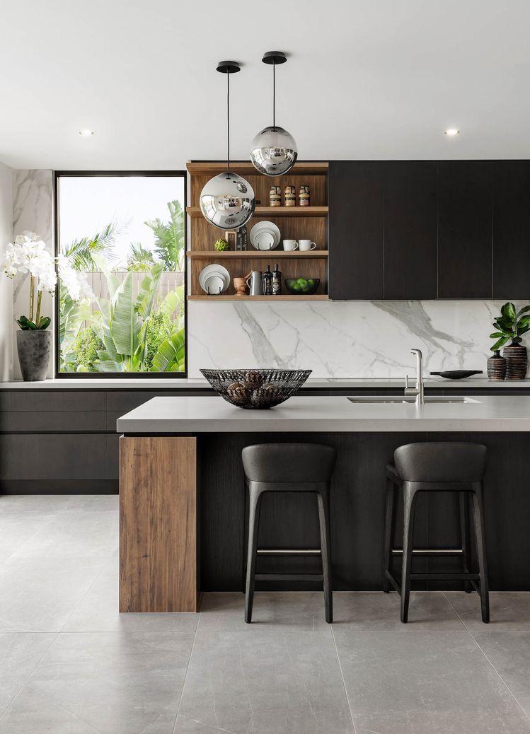 Incroyable Sol Gris Pour Cuisine Noire Faience Cuisine, Deco Cuisine Moderne,  Intérieur De Cuisine,