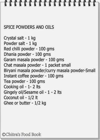 Indian Grocery list - South Indian Monthly Grocery Shopping List