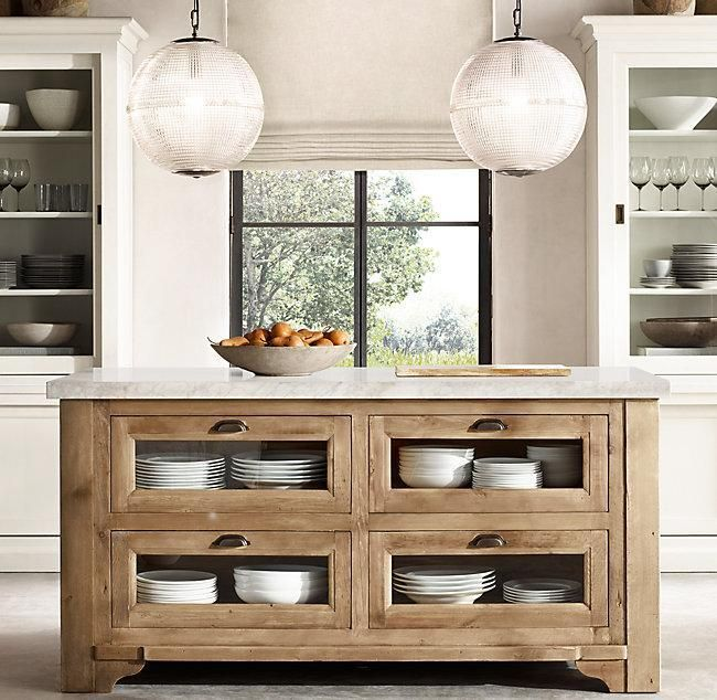 Restoration Hardware Salvaged Wood Marble Kitchen Console Natural