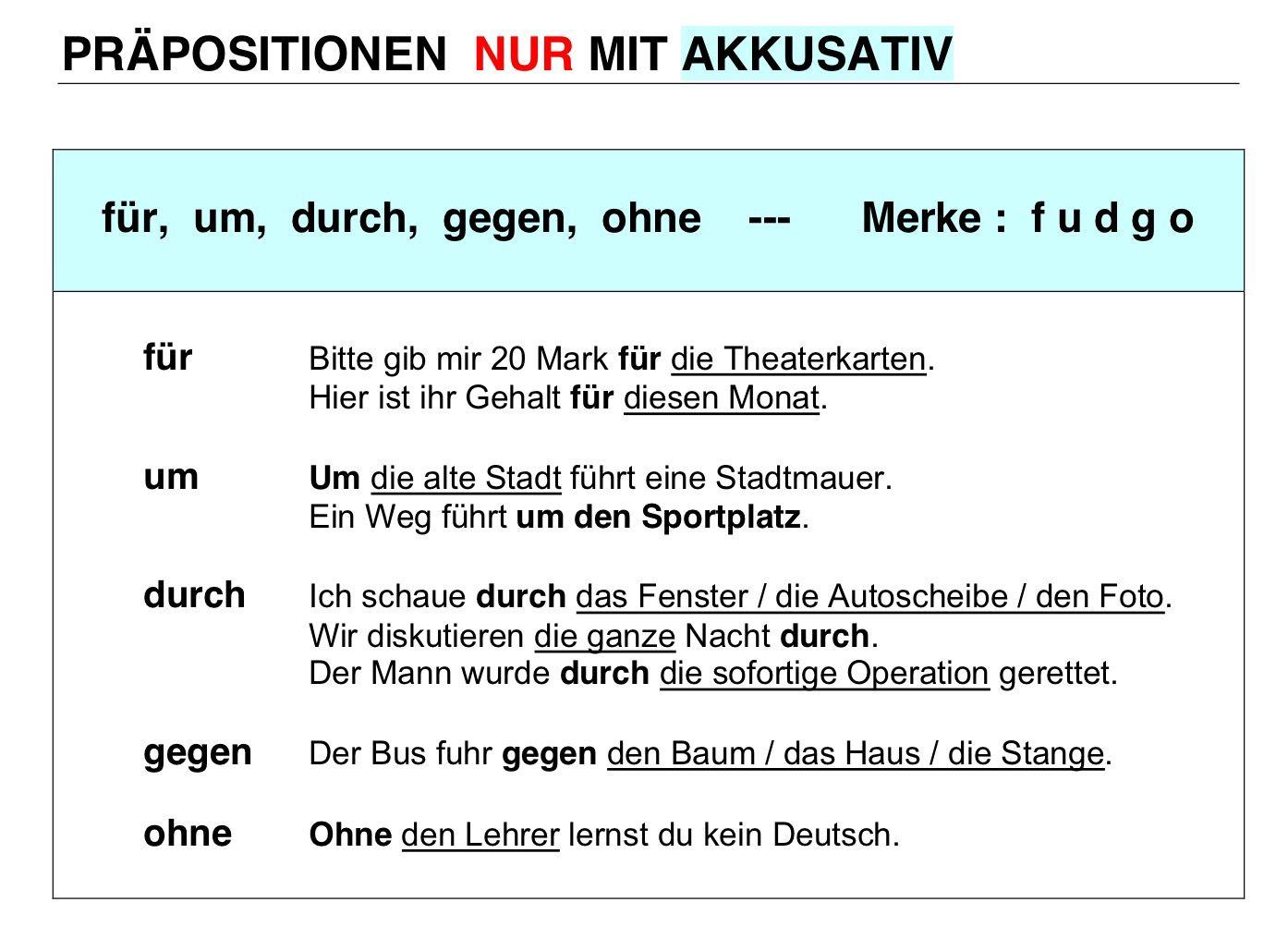 Präpositionen nur mit Akkusativ | Alemán/Deutsch ...