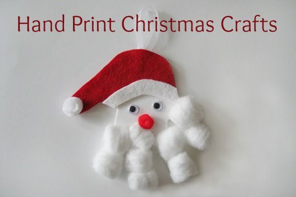 Handprint Santa... This post has a few handprint Christmas crafts to do with the kids...fun!