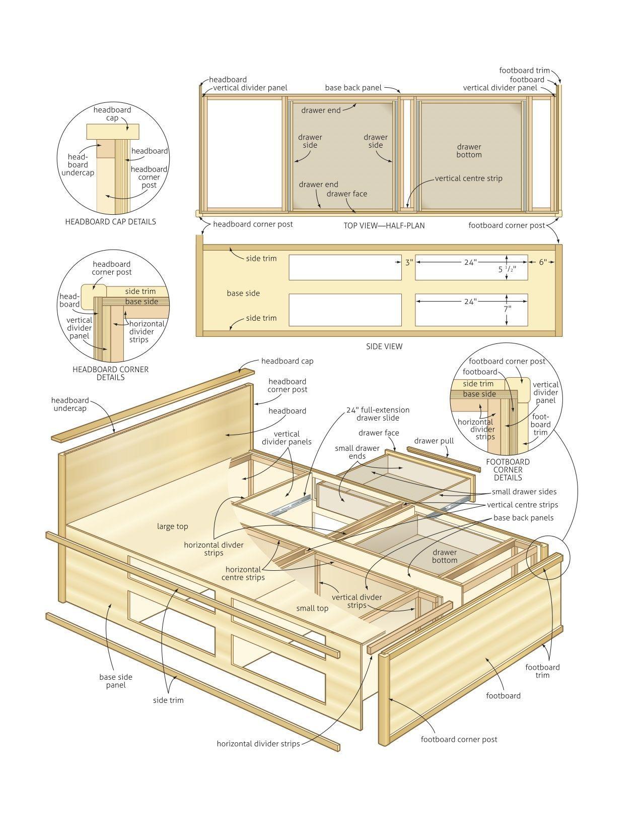 Resultado de imagen de King Size Bed with Storage Plans   Somier ...