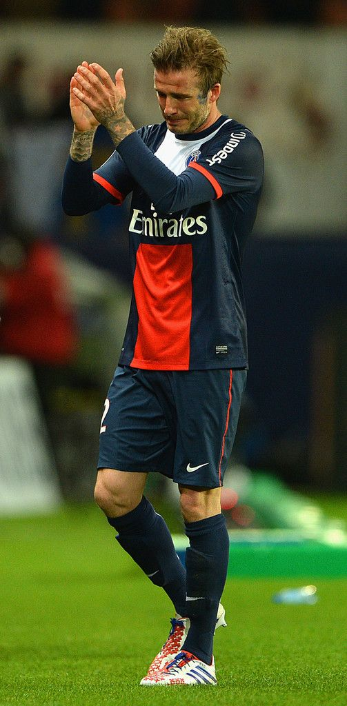 e50c3eaf3 David Beckham of PSG reacts as he is substituted during the Ligue 1 match  between Paris Saint-Germain FC and Stade Brestois 29 at Parc des Princes on  May 18 ...