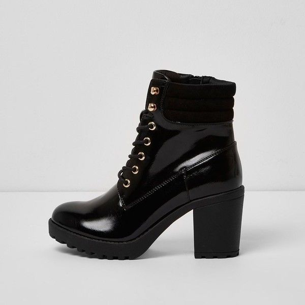 60e3b797c6f River Island Black patent lace up chunky heeled boots ( 84) ❤ liked on  Polyvore featuring shoes
