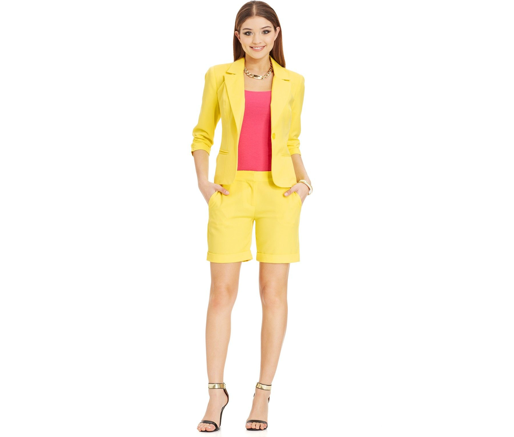 XOXO Juniors' Blazer & Cuffed Shorts - Juniors Suits & Suit ...