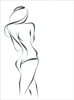 Hand Drawing Girl Design Vector Graphic Free Vector In Encapsulated Postscript Eps Eps Format Format For Fre Line Art Drawings Girl Drawing Sillouette Art