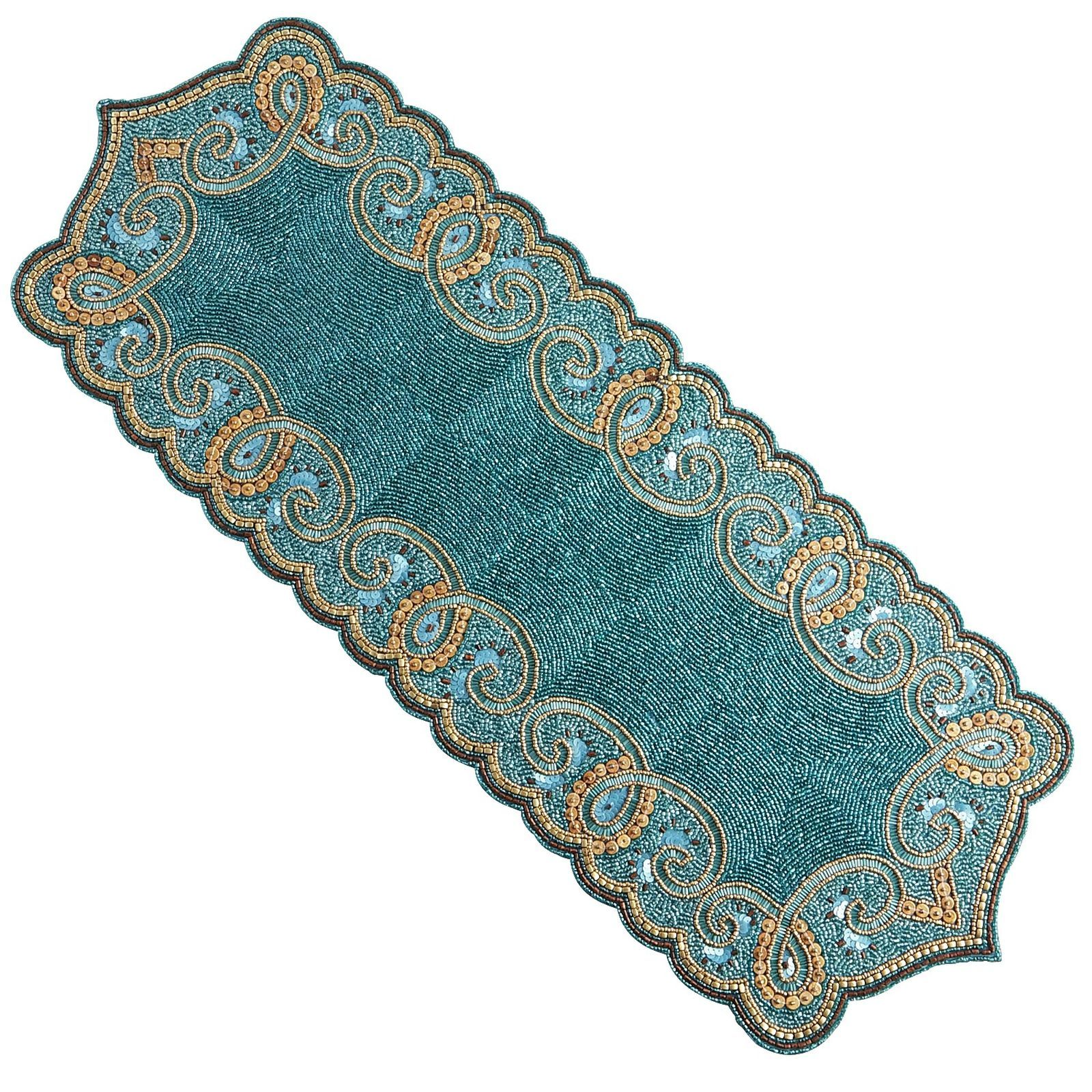 Beaded Scallop Table Runner Turquoise Table Table Runners