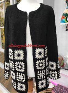 Kare Motifli Hırka Yapılışı | elisiorgudukkani.com #crochetsweaterpatternwomen