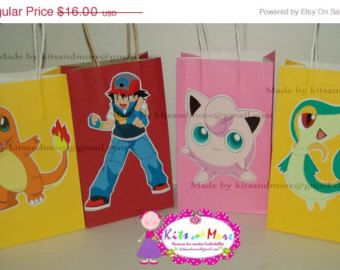 ON SALE 15 OFF Pokemon Goodie Bags Gift Personalized Digital Set Of 8