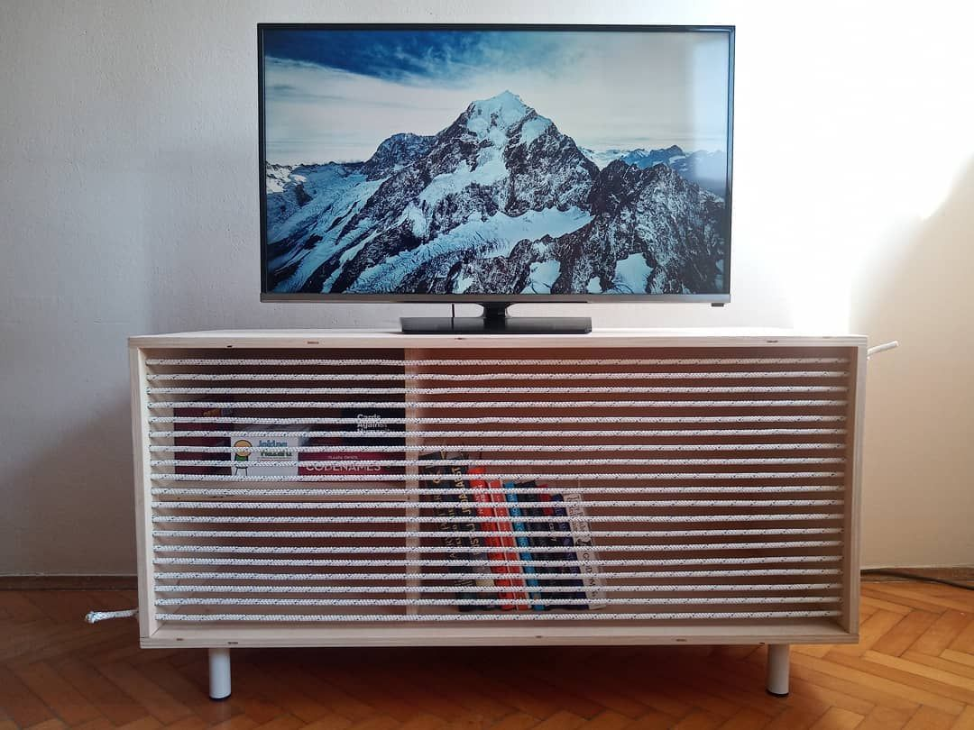 I made this TV stand/bookshelf out of birch plywood, rope